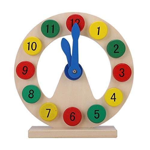 Hztyyier Kids Wooden Clock Toy, Baby Children Wooden Clock Toy Kids Number Time Early Learning Gift for Little Boys Girls