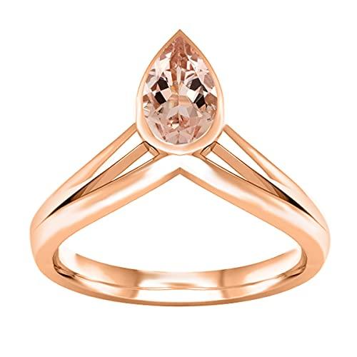 0.75 Ctw Pera Piedra preciosa morganita Anillo de plata 925 delicado color rosa (Oro blanco, 10)