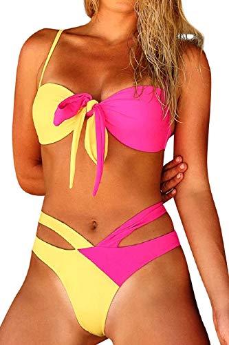 Tuopda - Bikini ajustable de dos piezas para mujer, bikini de playa de colores amarillo M