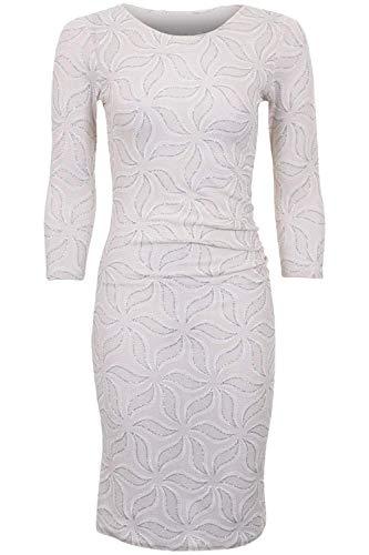 Fantasia Boutique® Http :/ / Www.Ebay.co.uk/ITM/Womens-Ruched-3-4-Sleeve-Leaf-Floral-Glitter-Sparkle-Lurex-Midi-Bodycon-Dress-/201712795463 - Creme, 36