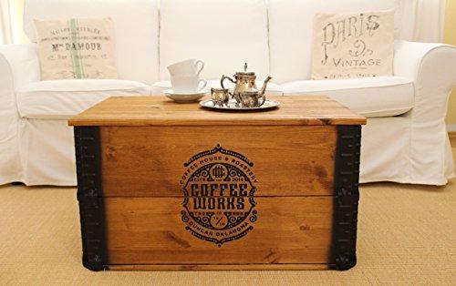 Uncle Joe´s Truhe Coffee Couchtisch Truhentisch im Vintage Shabby chic Style aus Massiv-Holz in braun mit Stauraum und Deckel Holzkiste Beistelltisch Landhaus Wohnzimmertisch Holztisch nussbaum - 2