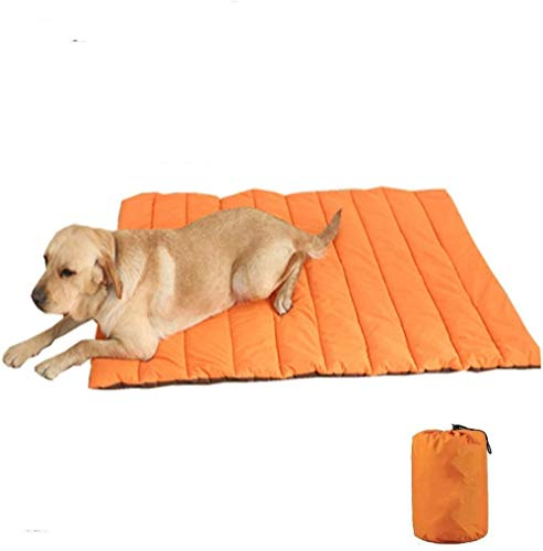 Outdoor Dog Bed Waterproof Washable Large Size Durable Water Resistant Portable and Camping Travel Pet Mat-Orange