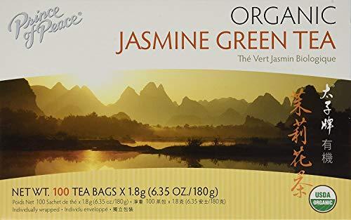Prince of Peace Organic Jasmine Green Tea, 100 Tea Bags – 100% Organic Green Tea – Unsweetened Green Tea – Lower Caffeine Alternative to Coffee – Herbal Health Benefits