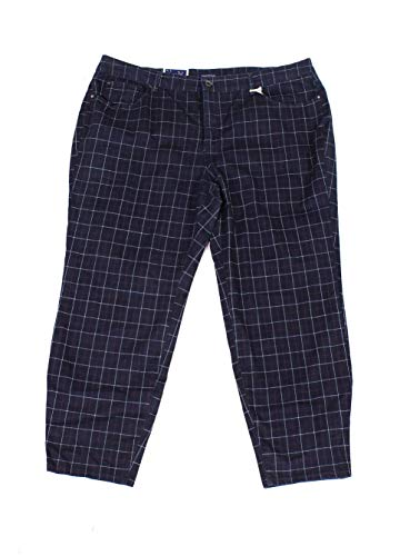 Charter Club Womens Plus Bristol Check Print Skinny Fit Ankle Pants Blue 16W
