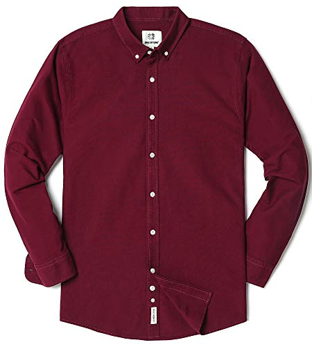 Men's Oxford Long Sleeve Button Down Casual Dress Shirt,Wine Red,Large