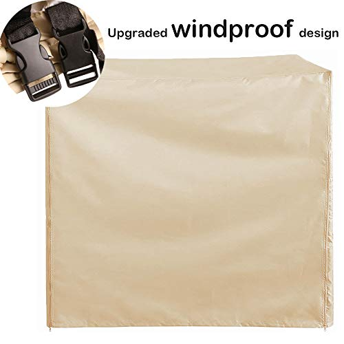 Garden Swing Chair Cover 3 Seater Waterproof, Large Patio Hammock Cover with Zips, All Weather Protective Cover for Canopy Swing Hammock Furniture (Beige)