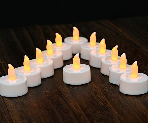 Tea Lights LED Tea Light Candles 100 Hours Pack of 12 Realistic Flickering Bulb Battery Operated Tea Lights for Seasonal Festival Celebration Electric Fake Candle in Warm Yellow