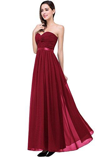 MisShow® Damen Trägerlos Chiffon Hochzeitskleid Brautkleid Standesamt lang Weinrot 40