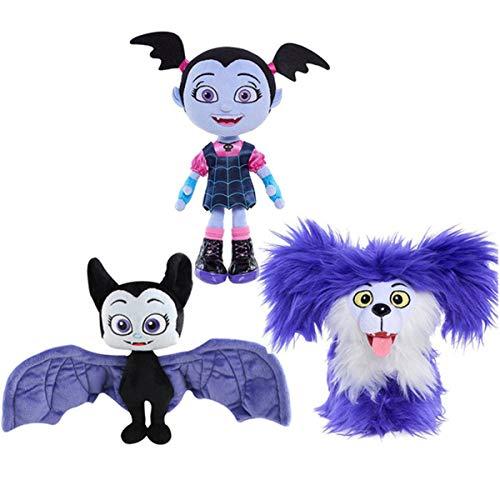 LuLezon 3er-Set Vampirina Die Vamp Wolfie Hauntley Fledermaus Plüschfigur Spielzeug weiche ausgestopfte Puppen