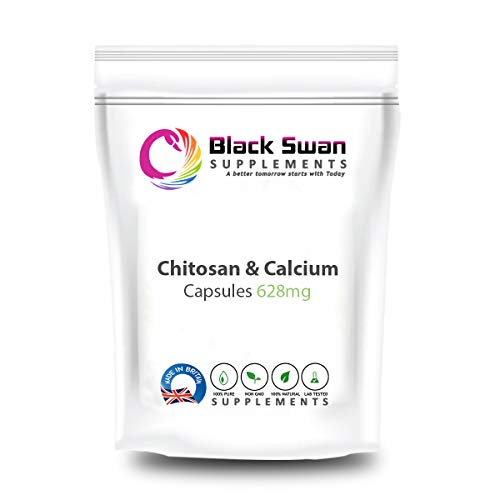 Black Swan Chitosan & Calcium 628mg Capsules – for Healthy Bones and Teeth, Weight Loss and Detox Body – Natural Supplement Supports General Wellbeing (120 caps)