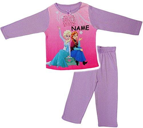 alles-meine.de GmbH 2 TLG. Set _ Schlafanzug / Hausanzug / Pyjama -  Disney Frozen - die Eiskönigin  - incl. Name - Größe: 5 - 6 Jahre - Gr. 122 - 128 - Langer Trainingsanzug /..