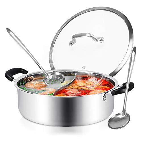 Hot Pot with Divider Shabu Shabu Hot Pots Food Grade Stainless Steel Chinese Dual Sided Pot Set for Induction Cooktop Gas Stove