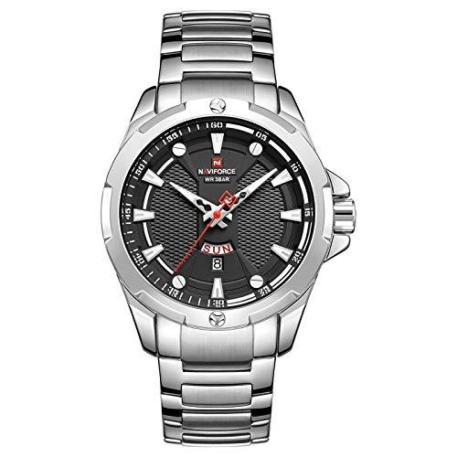 NAVIFORCE Fashion Mens Quartz Watches Luxury Brand Multi-Function dial Sport Watch Men Casual Waterproof Clock Relogio Masculino (NF9161-Silver)