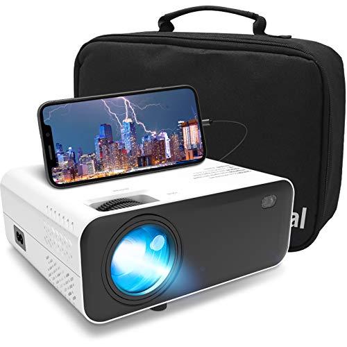 Mini Beamer 5500 Lumen Projektor - Waygoal native 720P Heimkino Beamer full hd, 1080P Unterstützt tragbarer Video Projektor mit 60000 Stunden LED und 200 Display, kompatibel mit TV Stick, HDMI