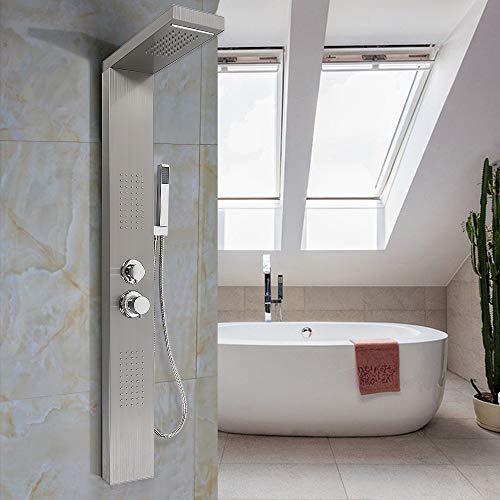 Wefun Duschpaneel Regendusche Duscharmatur Duschsäule Bad Duschset,Edelstahl-Regenbrause mit Handbrause 15 * 47 * 130 cm (Edelstahl draht zeichnung)