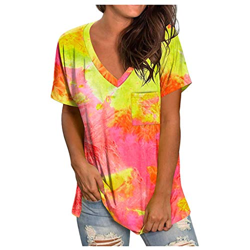 Sunmoot Clearance Sale Womens Short Sleeve V Neck T Shirts Loose Casual Summer Tops Tees with Pocket