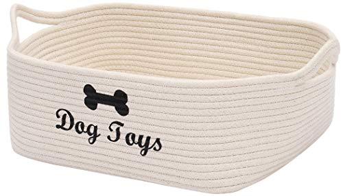 Geyecete - Cestino portaoggetti per cani, in corda intrecciata, per riporre giocattoli, giocattoli, asciugamani, cane-beige