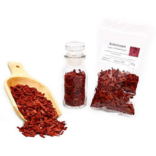 Rotes Sandelholz ätherisch | Rotholz Raspat naturbelassen | naturreines Räucherwerk | Räuchern | Rotsandelholz geschnitten 25g