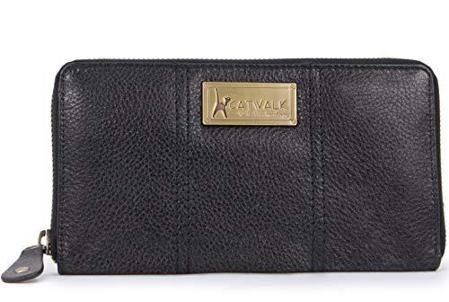 Catwalk Collection Handbags - Vera Pelle - Borsellino/Portafoglio/Portamonete da Donna - RFID Protezione - Scatola Regalo - Gallery Purse - NERO - RFID