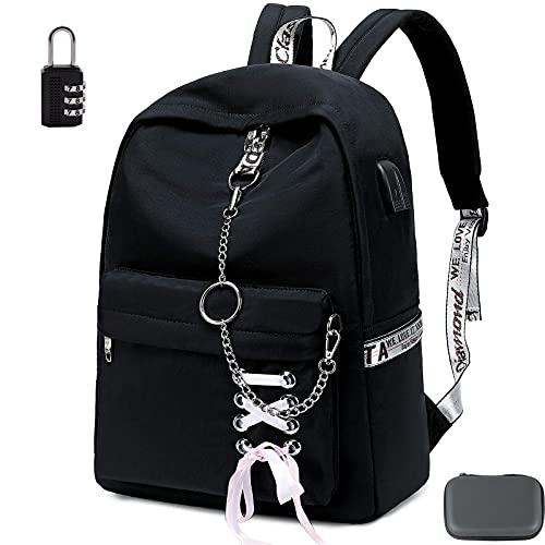 스쿨 여자를위한 LAXNAKO 배낭 청소년 청소년 여성 노트북 캐주얼 데이 팩 15 인치 노트북 USB 충전 포트 일치하는 동전 지갑 (블랙)