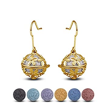 INFUSEU Dangling Earrings Daisy Drop for Women Aromatherapy Essential Oil Diffuser Locket Jewelry + 14 PCS Lava Stone Rock Beads  Gold