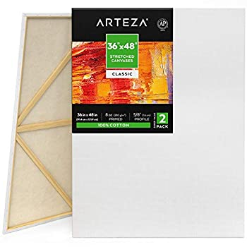 Arteza Stretched Canvas Pack of 2 36 x 48 Inches Blank White Canvases 100% Cotton 8 oz Gesso-Primed Art Supplies for Acrylic Pouring and Oil Painting