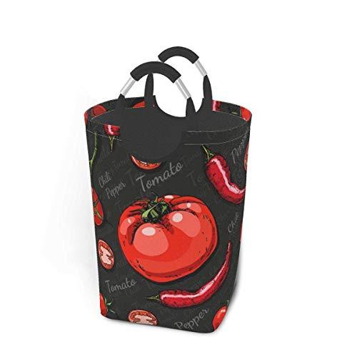 Cesto de lavandería de color, tomates cherry, chile, comida y bebida, cesto de lavandería, bolsa para ropa sucia, escala arcoíris, estrellas mágicas, cubo plegable, cubo de lavado, organizador de alma