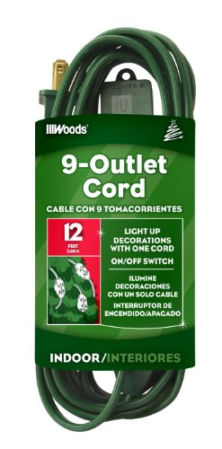 Woods 32189 Indoor Extension Cord With Nine Power Outlets (12 Feet, Green)