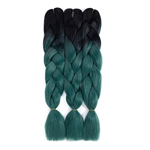 Ombre Braiding Hair Black-Dark Green kanekalon hair 3pcs Jumbo Braids Synthetic Hair Extensions 2 Tone Color (3pcs, T1B/Dark Green)