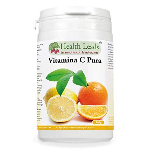 Polvo de vitamina C pura (ácido ascórbico), Contribuye a mantener el funcionamiento normal del sistema inmunitario, Piel y dientes más sanos, Vegano, sin OMGs y libre de gluten, 1 x 240 g