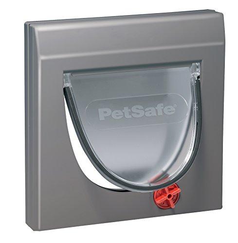 PetSafe Katzenklappe Staywell Haustierklappe Freilauftür, vier Verschlussoptionen, Teleskoprahmen, mit Tunnel, robust, wetterfest, leise, Magnetrahmen, für Katzen von max. 7 kg, grau
