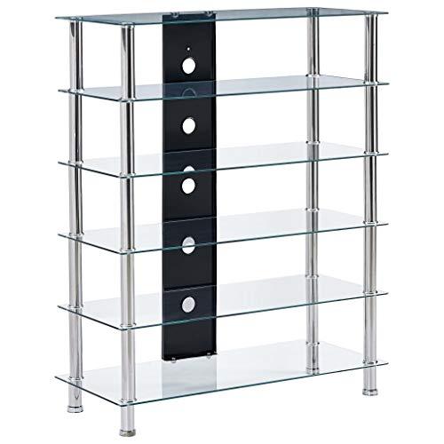 Festnight Mueble para Equipo HiFi de Vidrio Templado y Acero Inoxidable Transparente 90 x 40 x 113 cm con 5 Estantes