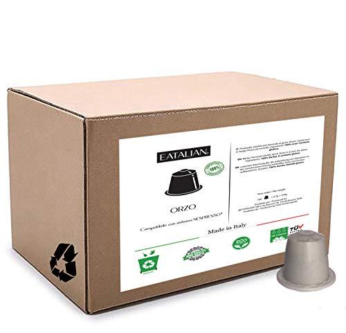 EATALIAN 100 capsules d'orge compatibles avec la machine Nespresso 100% compostables Fabriqué en Italie jetable comme déchet organique.