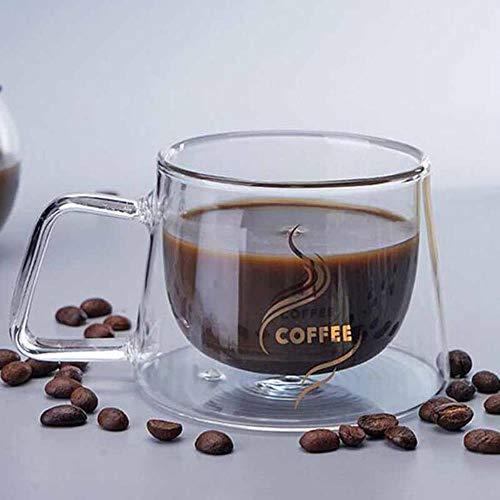 NLT - Copa de café con doble aislamiento de borosilicato para agua, café, jugo, vino, cerveza, whisky, leche, 2 unidades, 200 ml