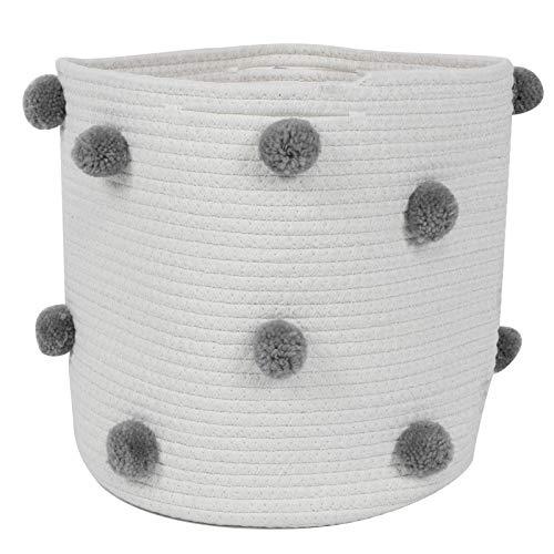 Leylor Canasta de Cuerda de algodón - Canasta de Almacenamiento Manta Decorativa de Cuerda de algodón Canastas de Almacenamiento Canastas de Almacenamiento Grandes(Gris)