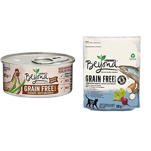 PURINA BEYOND Getreidefrei Katzenfutter Trocken- und Nassfutter Mix-Pack, Lachs mit Maniok und Huhn grüne Bohnen, (6 x 700g und 12 x 85g)