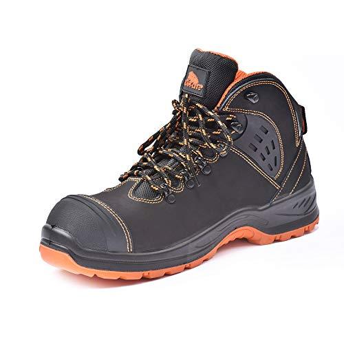 KAM-LITE Botas de trabajo de cuero para hombre, puntera de acero, S3 SRC, impermeables, resistentes al aceite, zapatos de seguridad, botas de seguridad en el tobillo,color Negro, talla 48 EU