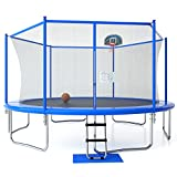 12FT Trampoline with Safety Enclosure Net, Ladder, Basketball Hoop, Jumping Mat, Safety Pad, Outdoor...