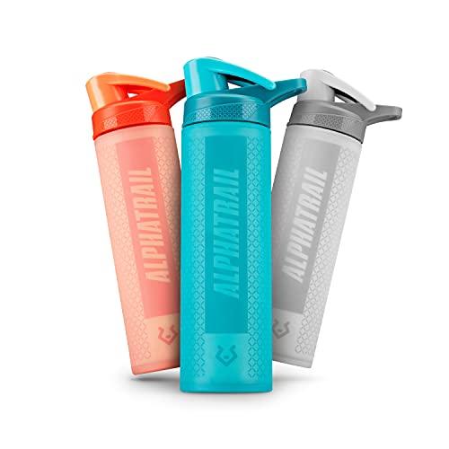 Alphatrail Botella Agua Cristal Scott 600ml Azul I A Prueba de Golpes y Antideslizante Gracias a la Cubierta de Silicona 100% Prueba de Fugas I sin BPA I Óptima hidratación Durante el Deporte
