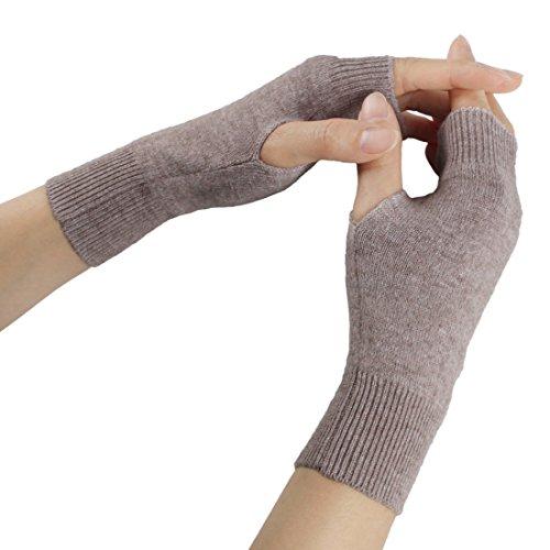 Larcele Kaschmir Damenwärmer Fingerlose Handschuhe BZST-02 (Licht Khaki) MEHRWEG