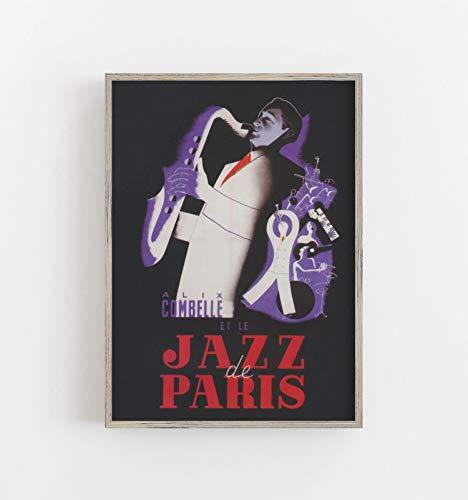 Jazz Band Muziek Print Saxofoon Speler Print Parijs Print Saxofonist Print Jazz Digitale Downloaden Printable Wall Art Grote Muur Kunst