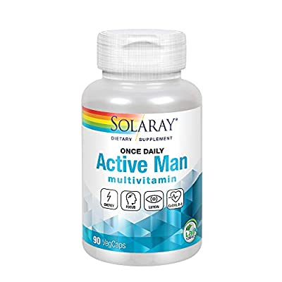 Solaray Active Man Multivitamin & Mineral | Energy & Digestive Enzyme Blends in Whole Food Base | 90 VegCaps