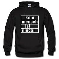 Shirtastic Kapuzenpulli: Kein Mensch ist illegal, schwarz