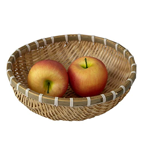 Made Terra Wicker Wire Fruit Basket Round Storage Basket for Bread Fruit Snacks Candy Households Items, Rustic Decorative Woven Fruit Bowl Dining Table Kitchen Countertop