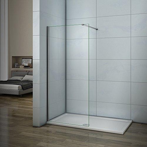AICA paroi de douche 60cm paroi latérale en verre anticalcaire avec barre de fixation 90cm