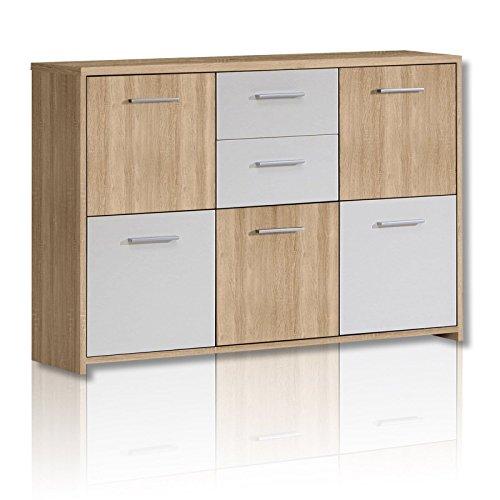 Unbekannt Sideboard Quadro - Sonoma Eiche-Weiß - 114 cm
