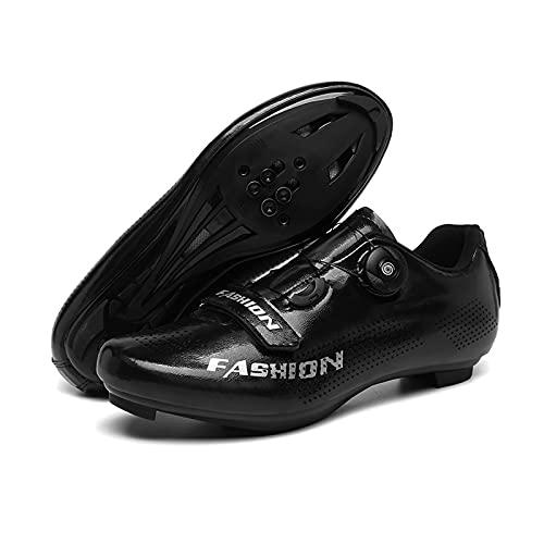 Zapatillas De Ciclismo De Moda, Zapatillas De Bicicleta De Carretera Y MTB Aldult, Zapatillas De Bicicleta De Carretera De Montaña Compatibles Con Peloton SPD / SPD-SL & Look (Black,46 (EU 45 2/3))