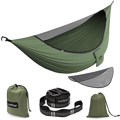 Sunyear Camping Hammock with Removable No See-Um Net, Double & Single Portable Outdoor Hammocks Parachute Lightweight Nylon with Tree Straps for Adventures Hiking Backpacking