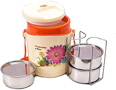 Wonder Hotline 3 Insulated Office Lunch Box with Stainless Steel Containers, 3 Containers (Orange Color), Made in India