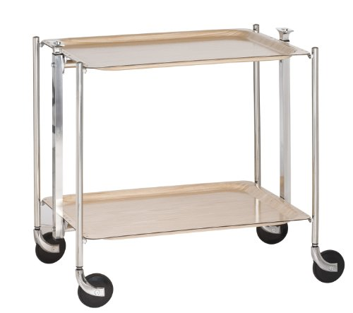 Platex Textable Trolley 2 planken, gelamineerd berken/chroom